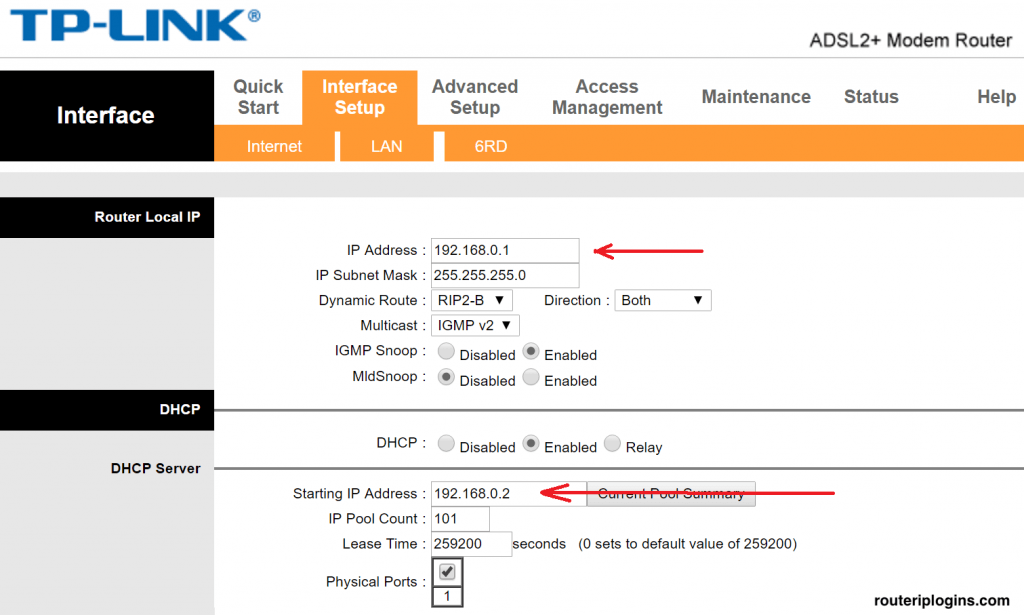tp link 192.168.0.1 interface